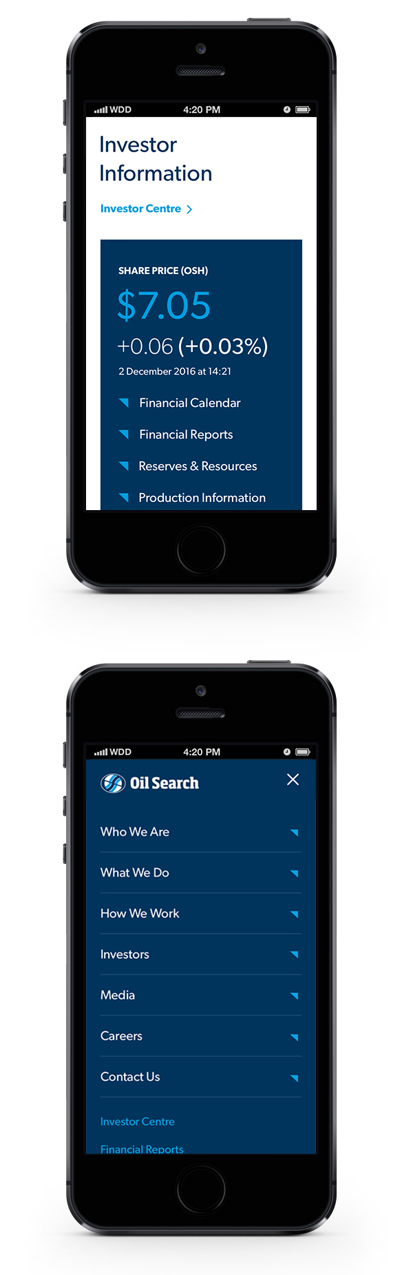 Oil Search mobile designs