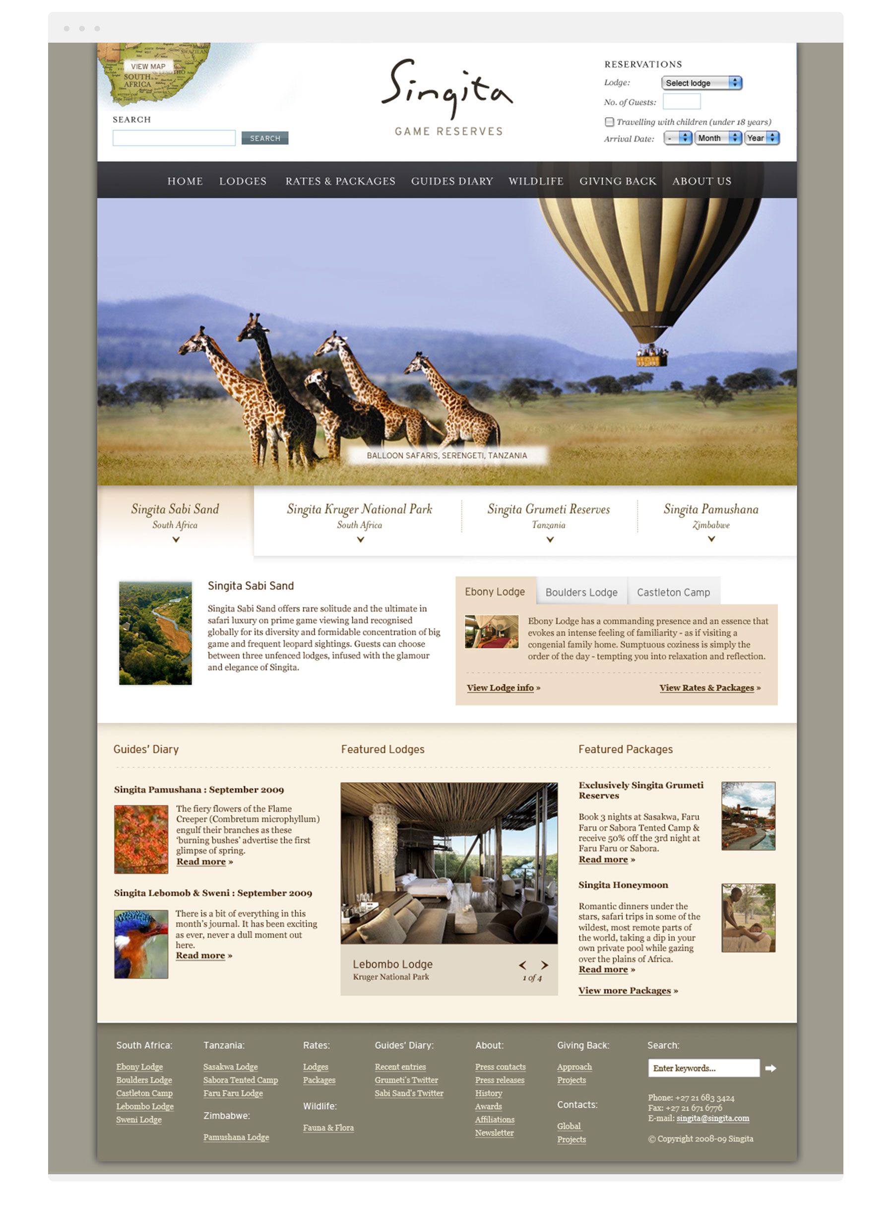 Singita homepage design