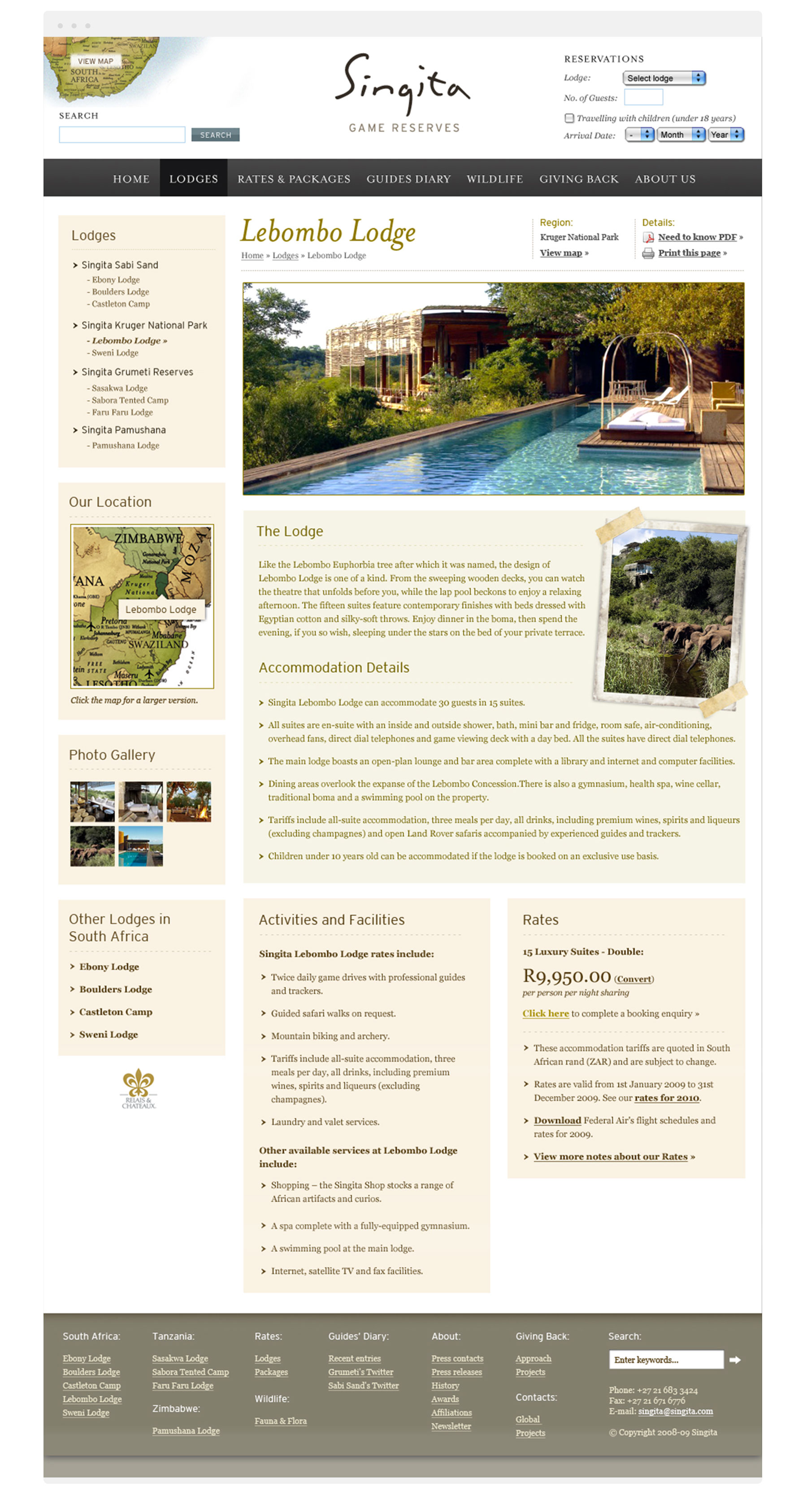 Singita lodge page design